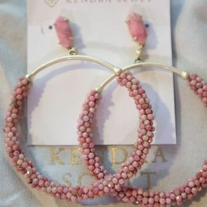 Pink Rhodonite Hoop Earrings